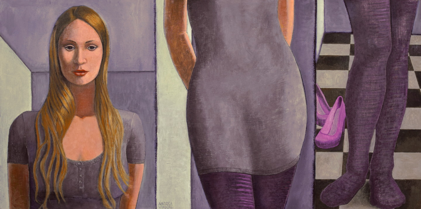 Andrea Vandoni - TALL WOMAN ON SHORT PANEL, Large 120 x 60